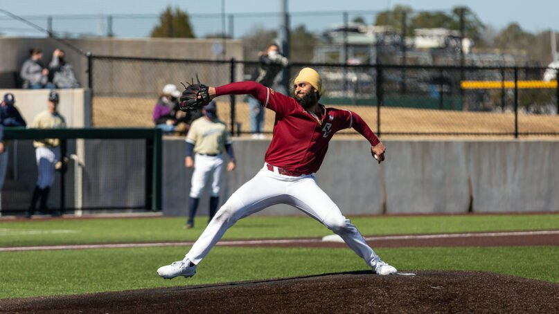 Boston College senior Samrath Singh pitches during a game against Charleston Southern University. Photo courtesy of Boston College Athletics