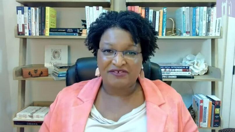 Stacey Abrams preaches a virtual sermon Sunday, Aug. 8, 2021, at Foundry United Methodist Church in Washington, D.C. Video screengrab