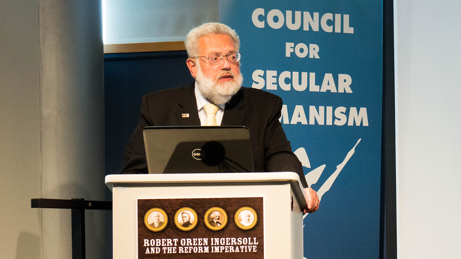 Council for Secular Humanism Executive Director and Ingersoll Museum director Tom Flynn gives a presentation on the Freethought Trail at the Center for Inquiry, Amherst, New York, Aug. 16, 2014. Photo by Monica Harmsen/Creative Commons