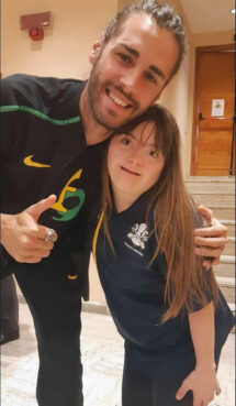 Gianmarco Tamberi and Benedetta Mattei pose for a photo together. Photo courtesy of Giampaolo Mattei/Athletica Vaticana