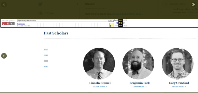 The Maxwell Institute's website before the purge, highlighting three 2018 fellows. Screen shot courtesy of @TheGranScoobah.