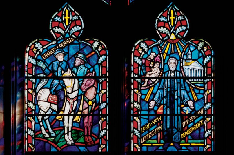 Details of stained-glass windows depicting Confederate generals Robert E. Lee and Stonewall Jackson that were removed from the Washington National Cathedral in 2017. Photo by Ken Cobb/© Washington National Cathedral