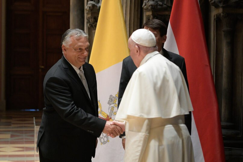 Pope Francis meets with Hungarian Prime Minister Viktor Orbán at the Museum of Fine Arts in Budapest. Photo by Vatican Media