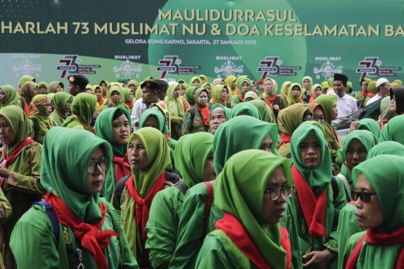 A gathering during the  73rd anniversary of the Nahdlatul Ulama (NU), in Jakarta, Indonesia in 2019. (Eko Siswono Toyudho/Anadolu Agency/Getty Images)