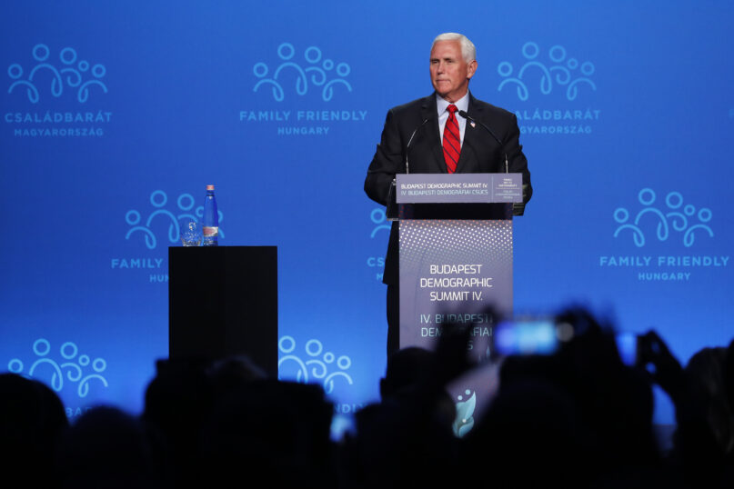 Former US Vice President Mike Pence holds a speech during the 4th Budapest Demographic Summit in Budapest, Hungary, Thursday, Sept. 23, 2021. The biannual demographic summit, which was first organized in 2015, offers a forum for