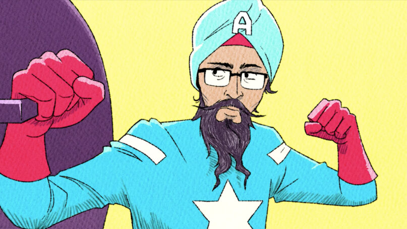 "A still from ""American Sikh"" depicting Vishavjit Singh as his Captain America persona. Image via Kickstarter"