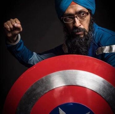 Vishavjit Singh in his Captain America outfit. Image via Kickstarter