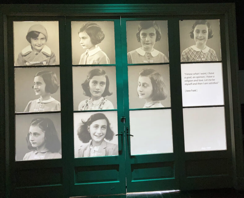 The Anne Frank Center in Columbia, South Carolina, includes two doors illuminated with photos of Anne as a girl. RNS photo by Yonat Shimron