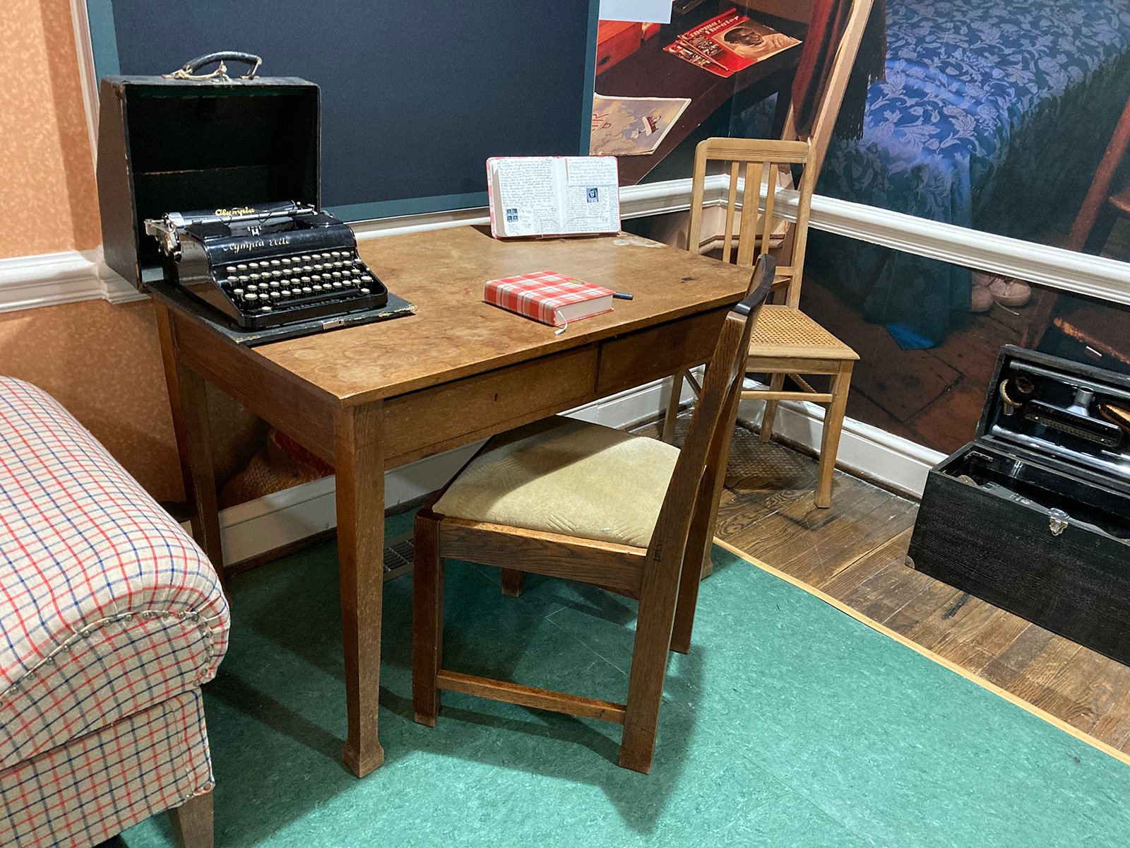 The Anne Frank Center, in Columbia, South Carolina, includes a desk similar to the one that Anne Frank wrote at. She was given a pink checkered diary on her 13th birthday just before the family went into hiding in 1942. RNS photo by Yonat Shimron