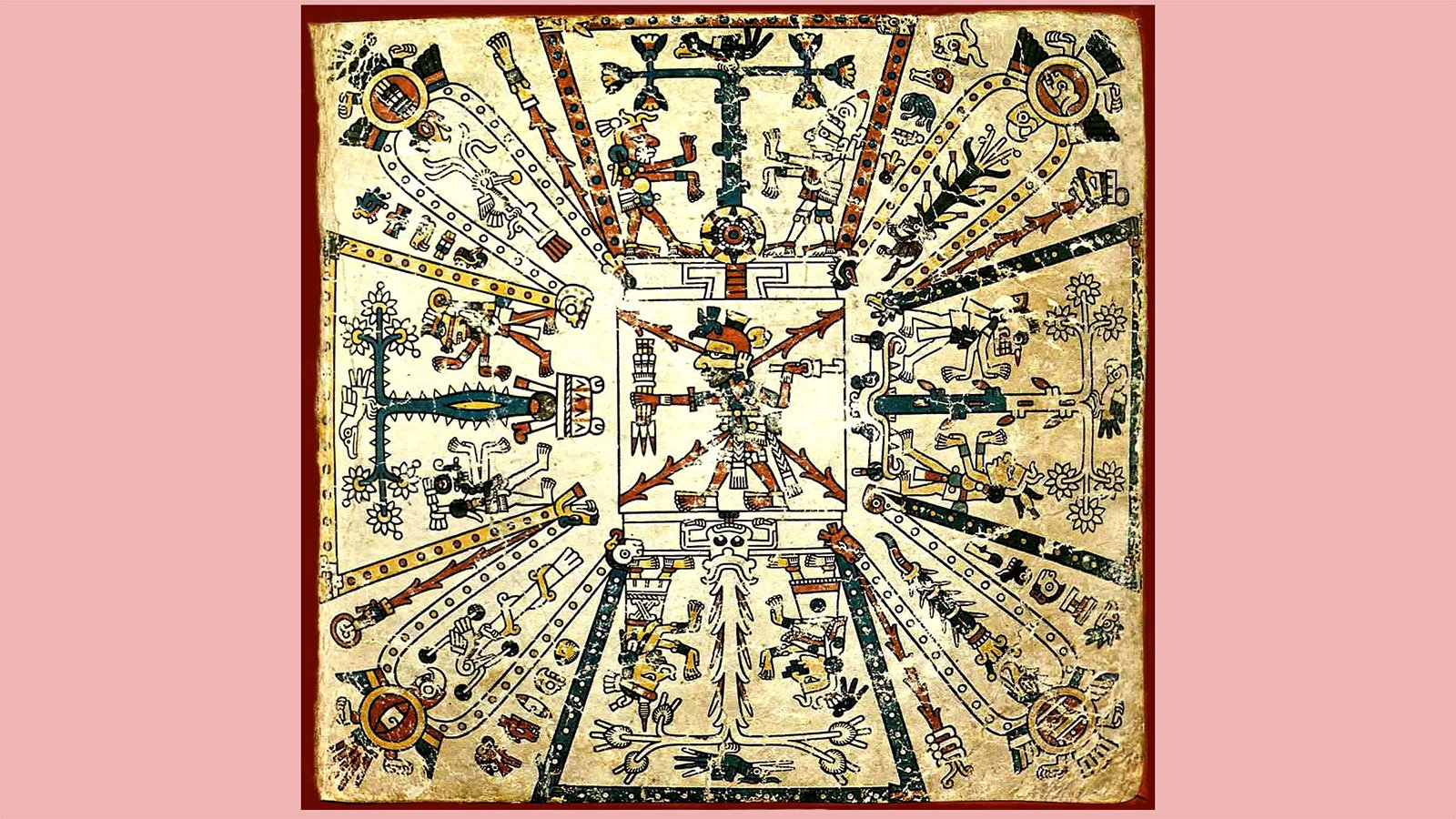 From the Codex Fejérváry-Mayer, an Aztec cosmological drawing with the god Xiuhtecuhtli, the lord of fire, and the calendar in the center with the other important gods around him, each in front of a sacred tree. Image courtesy of Creative Commons
