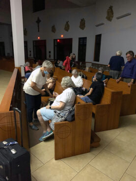 Residents of the damaged Metairie Towers apartment building shelter at St. Francis Xavier Church in Metairie, Louisiana, during Hurricane Ida. Photo by the Rev. Joe Palermo