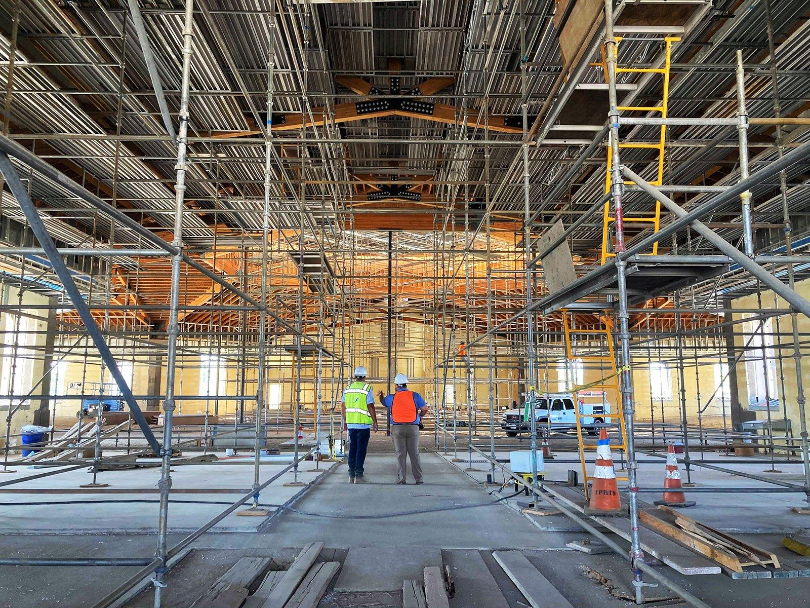 The interior of the St. Charles Borromeo Catholic Church construction site in Visalia, California, Thursday, Aug. 26, 2021. RNS photo by Alejandra Molina