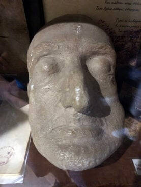 The death mask of poet Constantine Cavafy on display at a museum in Alexandria, Egypt. RNS photo by Joseph Hammond