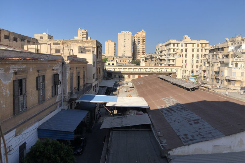 The present-day view from poet Constantine Cavafy's second-story apartment museum in Alexandria, Egypt, in Aug. 2021. RNS photo by Joseph Hammond