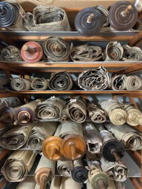 Czech Torah scrolls on display at The Czech Memorial Scrolls Museum in London. Photo courtesy Memorial Scrolls Trust