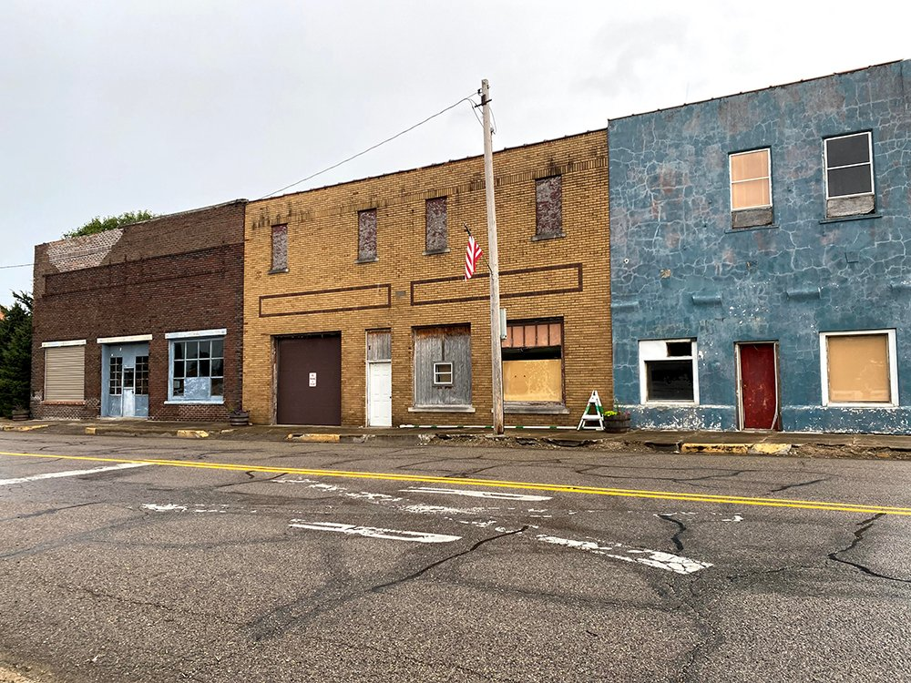 A few buildings located in Dana, Indiana, the home town of J. Dana Trent. Photo courtesy of Trent