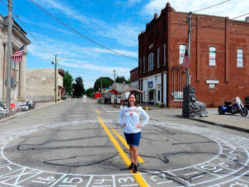 Dana Trent at the center of the cakewalk grid in her hometown of Dana, Indiana. Photo courtesy Mark Bennett, Tribune-Star.