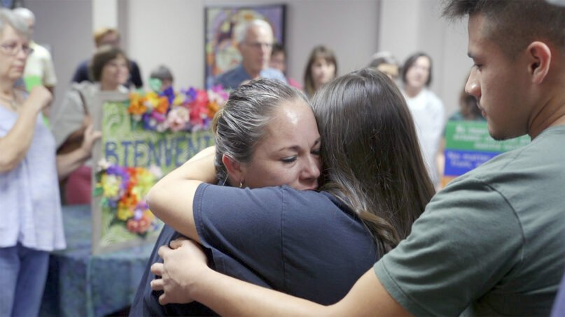 Edith Espinal arrives at Columbus Mennonite Church in Columbus, Ohio, to take sanctuary on Oct. 2, 2017. Photo courtesy of Matthew Leahy and Elisa Stone Leahy