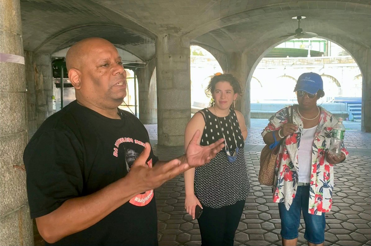 Activist Shams DaBaron, left, participates in Soulful Walk and Talks in New York. Photo courtesy of Kate Mankoff