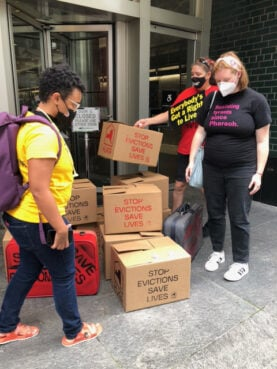 People demonstrate for eviction protections in New York, Tuesday, Aug. 31, 2021. Photo courtesy of Rabbi Barat Ellman