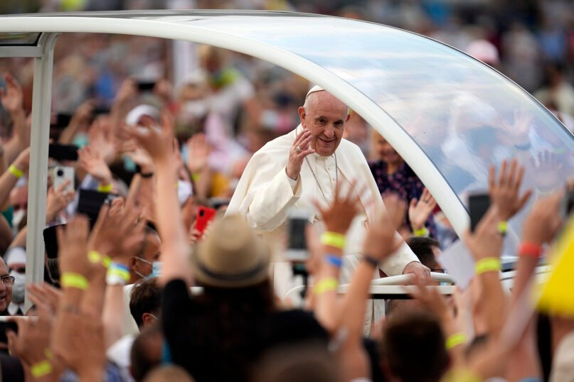Pope Francis meets with young people at Lokomotiva stadium in Košice, Slovakia, Sept. 14, 2021. Francis' first trip since undergoing intestinal surgery in July marks the restart of his globe-trotting papacy after a nearly two-year coronavirus hiatus. (AP Photo/Darko Vojinovic)