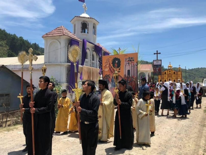 The Indigenous Orthodox Christian community participates in a procession for Palm Sunday around the village of Aguacate, Guatemala. Photo by Fr. Evangelios Pata and Fr. Thomas Manuel