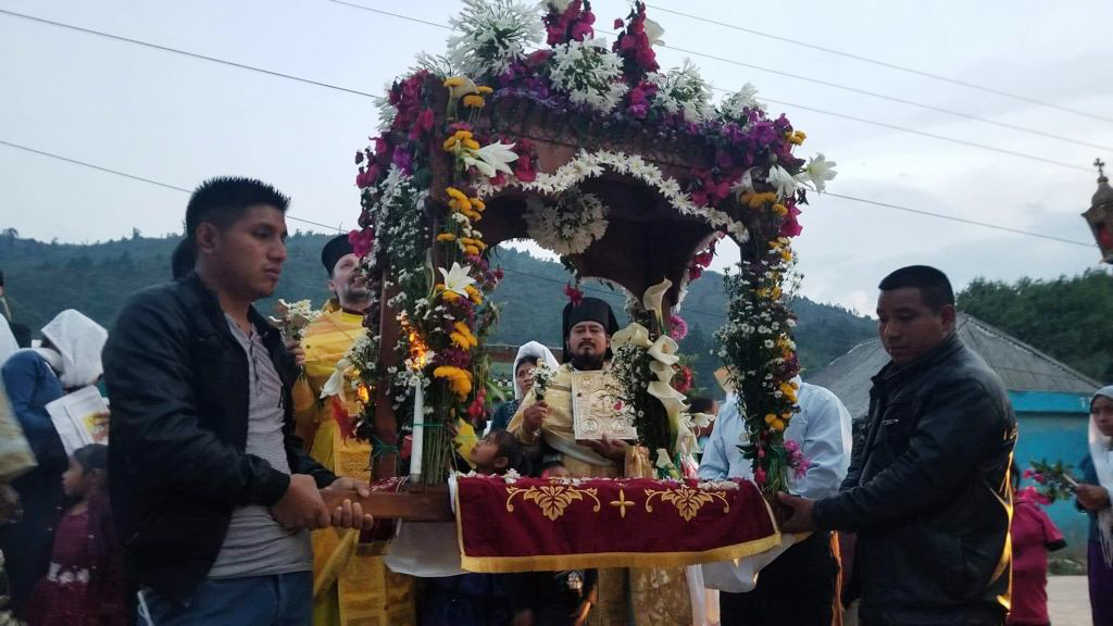 The Orthodox Christian community holds a traditional funerary procession for Jesus on Good Friday, after commemorating his crucifixion that morning, in Aguacate, Guatemala. Photo by Fr. Evangelios Pata and Fr. Thomas Manuel