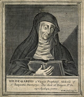 Hildegard von Bingen. Line engraving by W. Marshall.Credit: Wellcome Library, London. Creative Commons