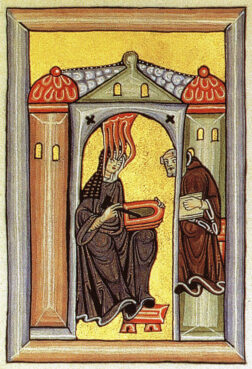 Illumination from Liber Scivias, showing Hildegard of Bingen receiving a vision, dictating to her scribe and sketching on a wax tablet. Image courtesy of Creative Commons