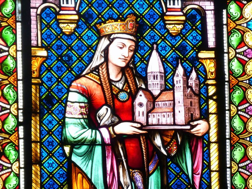 Stained-glass window showing St. Hildegard of Bingen. Photo by Wolfgang Sauber/Wikipedia/Creative Commons