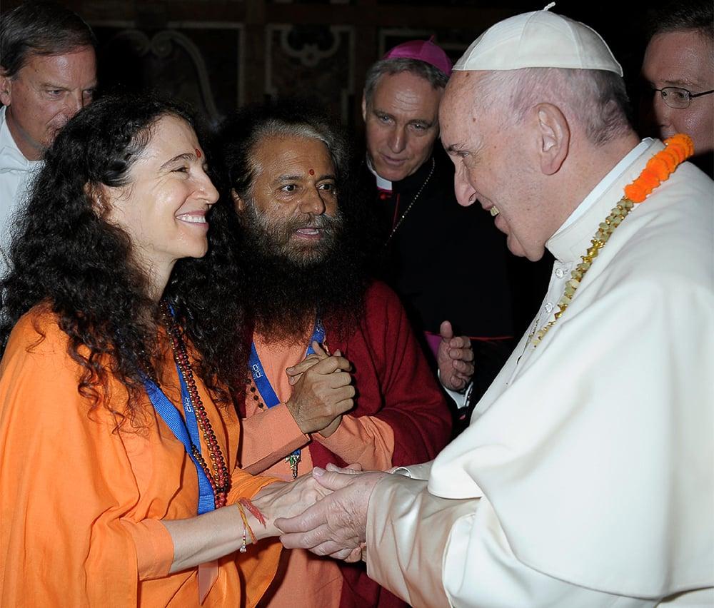 Sadhvi Bhagawati Saraswati, left, meets Pope Francis in 2018. Courtesy photo