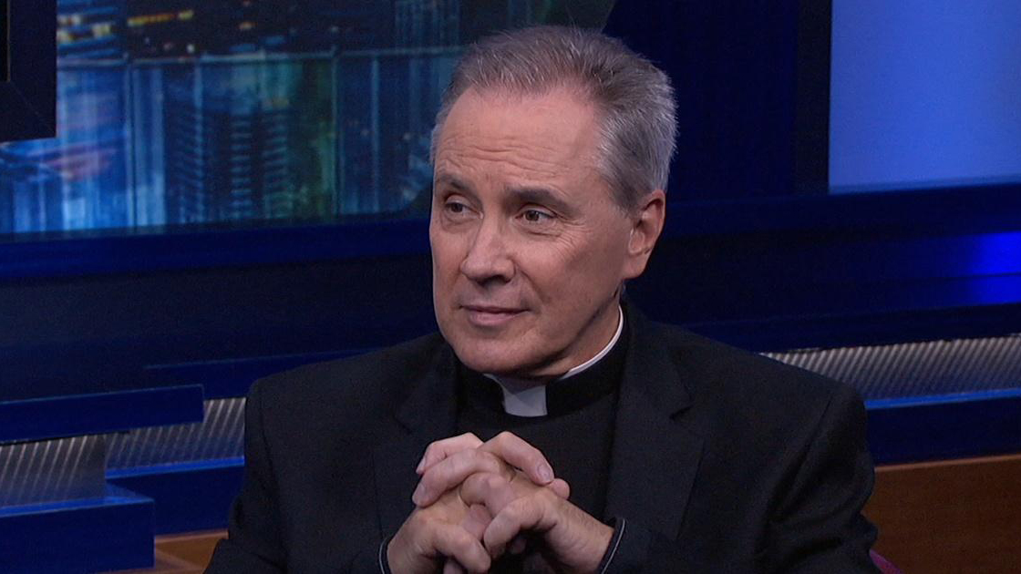 Monsignor Jim Lisante in a television interview. Video screengrab