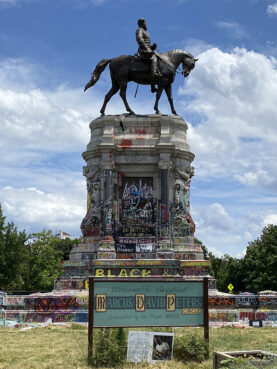 The monument to Robert E. Lee on Monument Avenue in Richmond, Virginia, after 2020 racial justice protests. Photo by Robert P. Jones