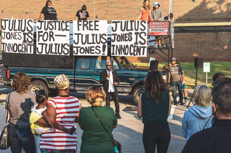 People attend a Justice for Julius Jones Commutation Hearing Rally in Oklahoma City on Sept. 13, 2021. Photo by Josh Dean Photography