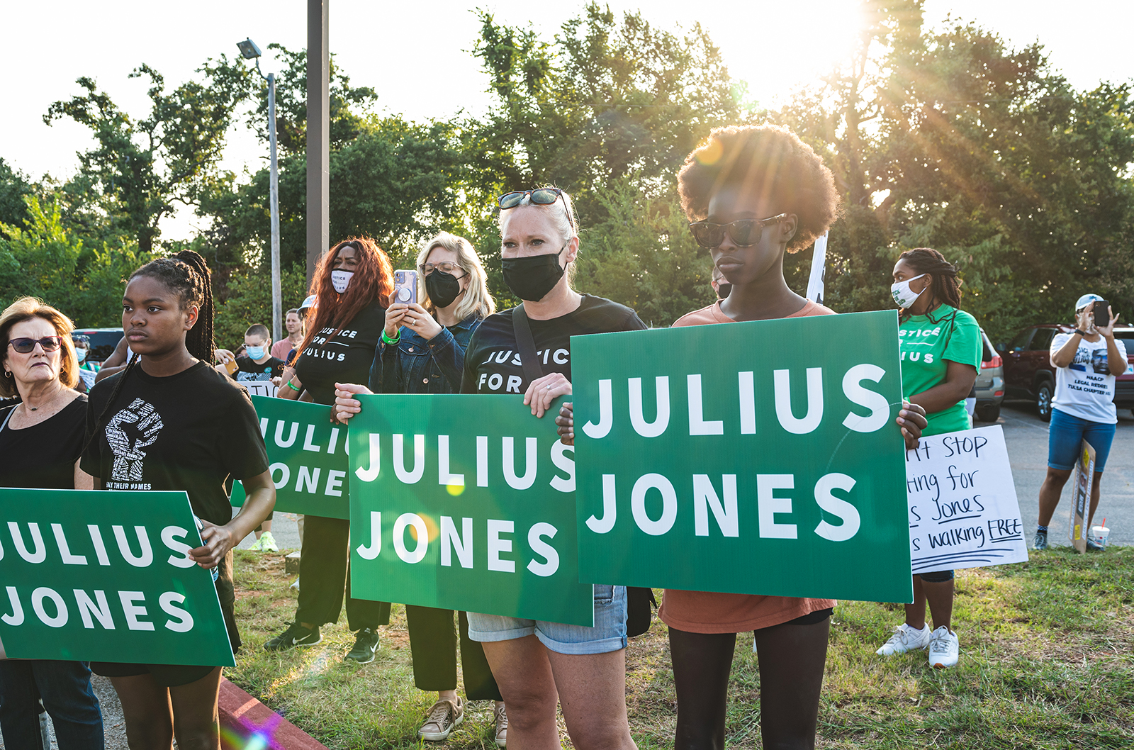 People attend a Justice for Julius Jones Commutation Hearing Rally in Oklahoma City, Oklahoma, Monday, Sept. 13, 2021. Photo courtesy of Ben Ehrlich Creative