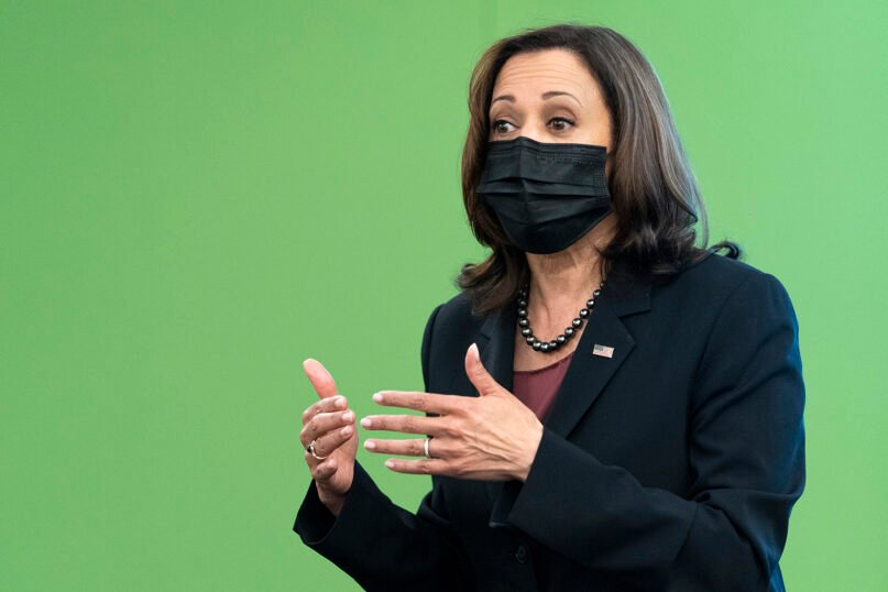 Vice President Kamala Harris speaks to students about voting rights at George Mason University, in Fairfax, Va., Tuesday, Sept. 28, 2021. (AP Photo/Jacquelyn Martin)