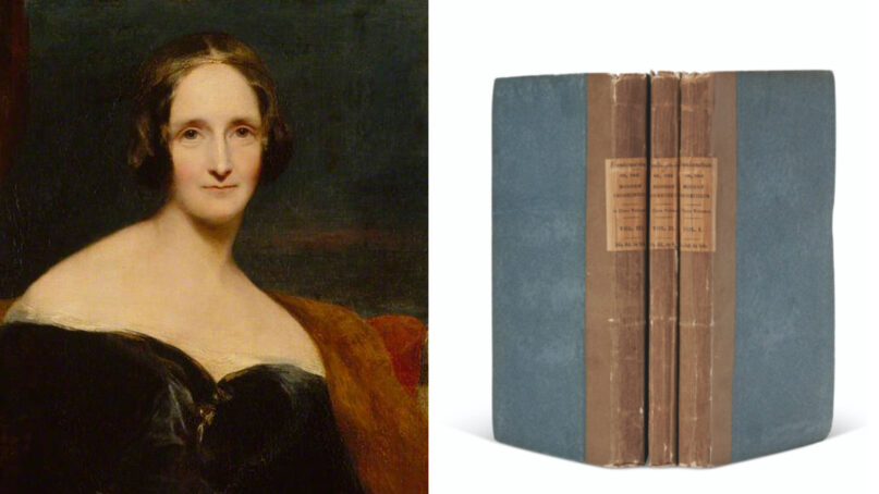 Author Mary Shelley and the recently sold first edition of her 1818 novel