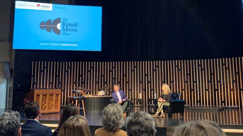 Ethicist Russell Moore, left, and Bible teacher Beth Moore have a discussion in front of a live audience at Immanuel Church in Nashville, Thursday, Sept. 9, 2021. RNS photo by Bob Smietana