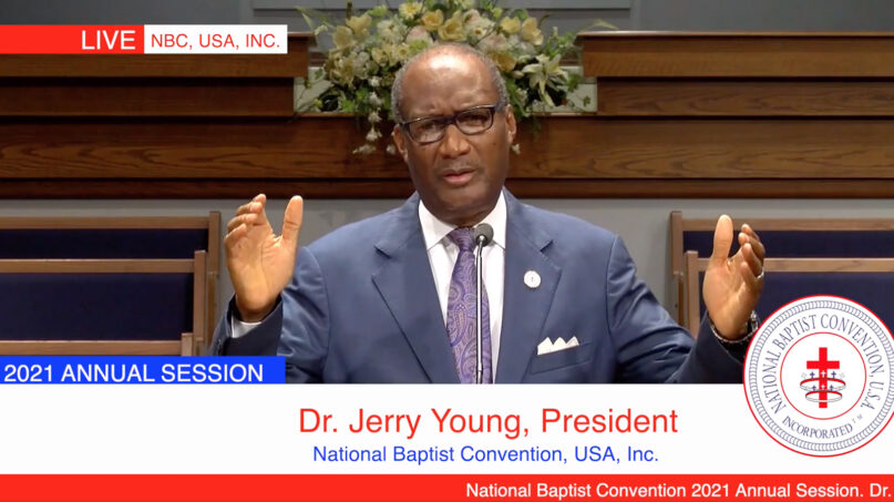 The Rev. Jerry Young addresses the annual session of the National Baptist Convention, USA, Tuesday, Sept. 28, 2021. Video screengrab