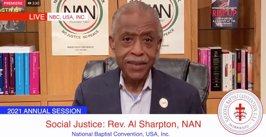 The Rev. Al Sharpton addresses the annual session of the National Baptist Convention, USA. Video screengrab