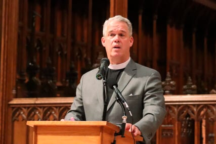 Washington National Cathedral's Dean Randy Hollerith announces plans to replace stained-glass windows that depicted Confederate generals at a news conference on Thursday, Sept. 23, 2021. RNS photo by Adelle M. Banks