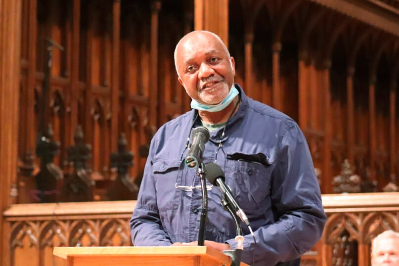 Artist Kerry James Marshall speaks at news conference on Thursday, Sept. 23, 2021, about his plans to design stained-glass windows at the Washington National Cathedral that will replace ones that honored Confederate generals. RNS phioto by Adelle M. Banks