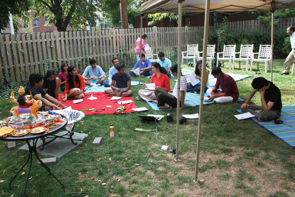 The North American Hindu Chaplains Association prepares for the beginning of a Navratri Homa. Photo courtesy of NAHCA