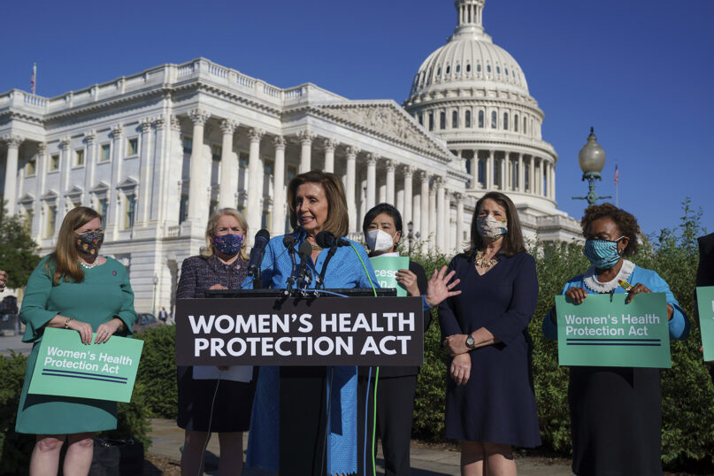 House Speaker Nancy Pelosi, D-Calif., center, joined from left by Rep. Lizzie Fletcher, D-Texas, Rep. Sylvia Garcia, D-Texas, Rep. Judy Chu, D-Calif., Rep. Diana DeGette, D-Colo., and Rep. Barbara Lee, D-Calif., holds a news conference just before a House vote on the Women's Health Protection Act legislation aimed at guaranteeing a woman's right to an abortion, an effort by House Democrats to circumvent a new Texas law that has placed that access under threat, at the Capitol in Washington, Friday, Sept. 24, 2021. (AP Photo/J. Scott Applewhite)