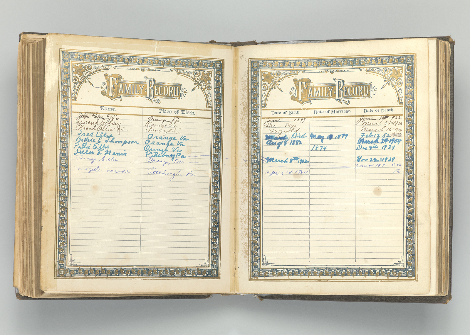 Ellis family Bible. Clara Ellis Payne's ancestors were enslaved at Montpelier, the home of President James Madison. After emancipation, her great- grandfather Squire May purchased land nearby in Orange County, Virginia.The Ellis family Bible was passed down through the generations and contains important information about family members. It was a valuable tool in the reconstruction of the May-Ellis family history. Collection of the Smithsonian National Museum of African American History and Culture, Gift of Clara Ellis Payne