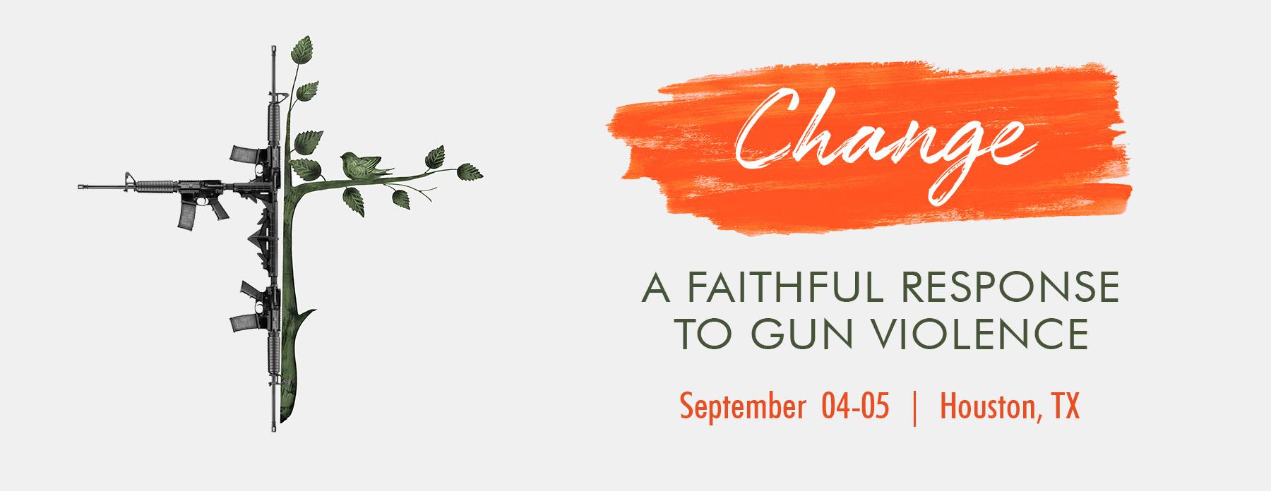 "A poster for ""Change: A Faithful Response to Gun Violence."" Image via RedLetterChristians.org"