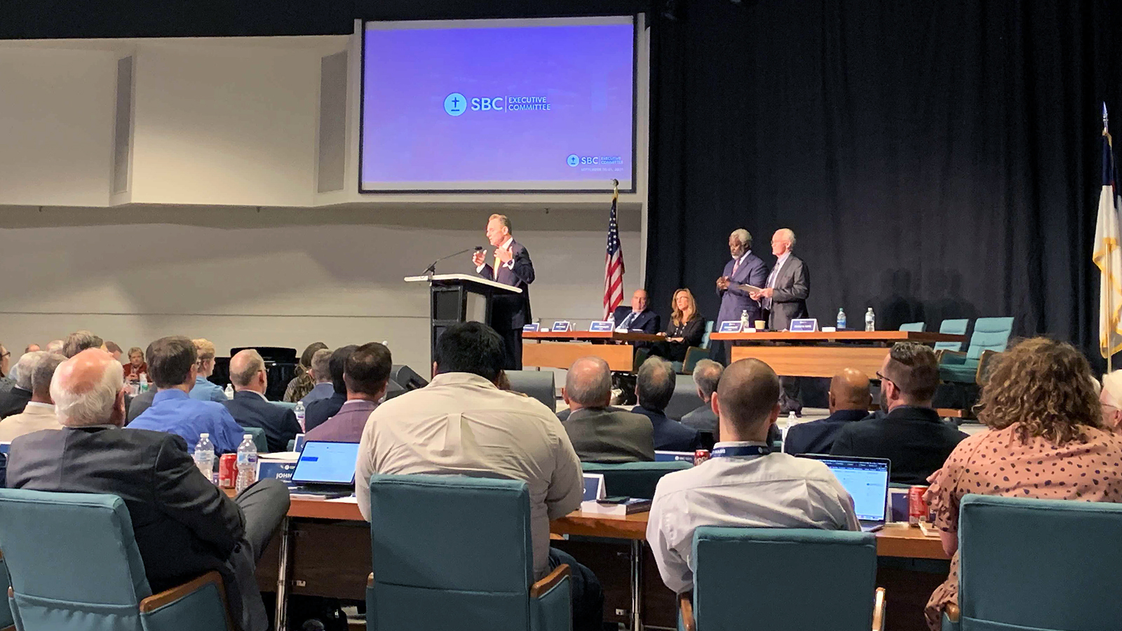 The Rev. Ronnie Floyd speaks during a meeting of the Southern Baptist Convention Executive Committee, Tuesday, Sept. 21, 2021, in Nashville. RNS photo by Bob Smietana