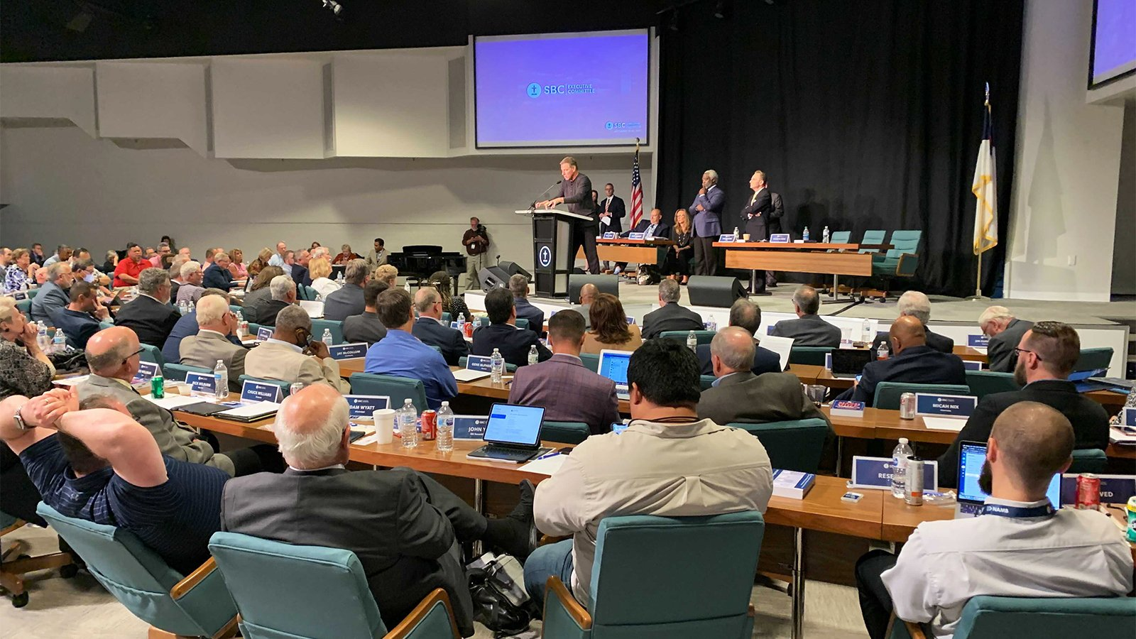 The Rev. Bruce Frank, lead pastor of Biltmore Baptist Church of Arden, North Carolina, speaks during a meeting of the Southern Baptist Convention Executive Committee on Sept. 21, 2021, in Nashville, Tennessee. RNS photo by Bob Smietana