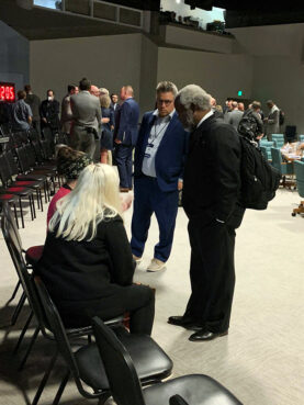 The Rev. Rolland Slade, right, meets with abuse victims ahead of the Southern Baptist Convention Executive Committee, Monday, Sept. 20, 2021, in Nashville. RNS photo by Bob Smietana