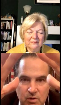 """K.C. Craichy, bottom, a pastor and head of LivingFuel, prays over Dr. Sherri Tenpenny during her Instagram live program """"Happy Hour with Dr. T."""" Video screengrab"""
